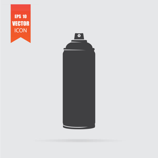 Spray icon in flat style isolated on grey background. Spray icon in flat style isolated on grey background. For your design, logo. Vector illustration. aerosol can stock illustrations
