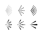 Spray icon set. Spray water symbol. Icons black colored isolated on white background. Vector
