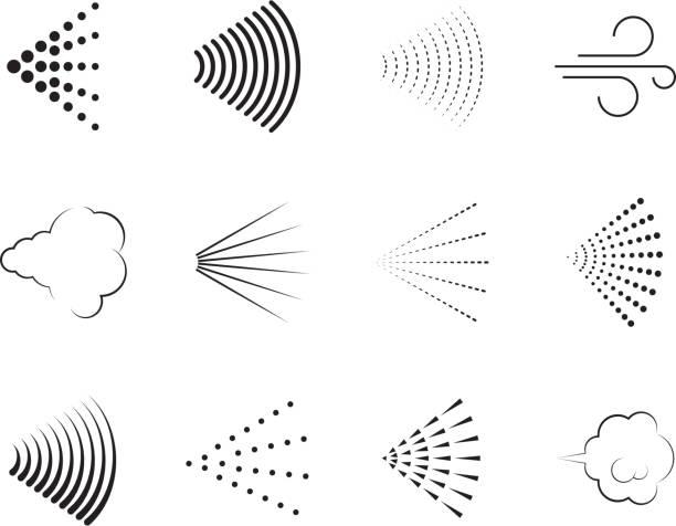 illustrazioni stock, clip art, cartoni animati e icone di tendenza di icone spray. set di raccolta vettoriale di simboli grafici a spruzzo d'aria della doccia con ugello a gas - profumi spray