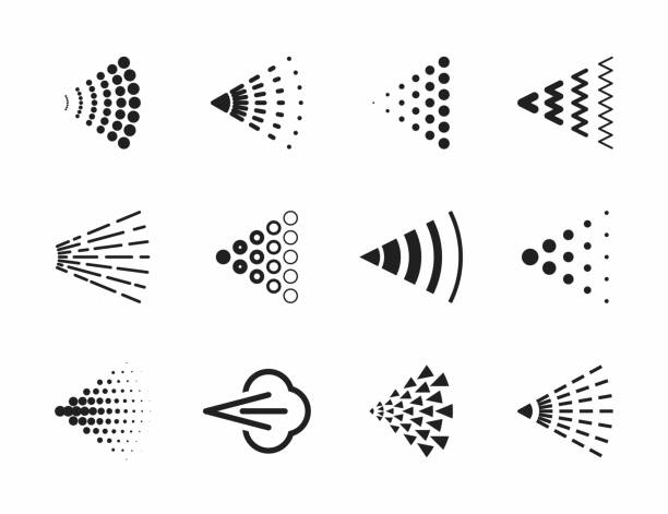 Spray icons set Spray icons set for water, perfume, paint or deodorant spray, vector illustration aerosol can stock illustrations