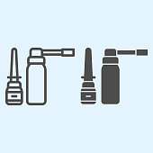 Spray line and solid icon. Medicine plastic bottles of antiseptic liquid. Health care vector design concept, outline style pictogram on white background, use for web and app. Eps 10