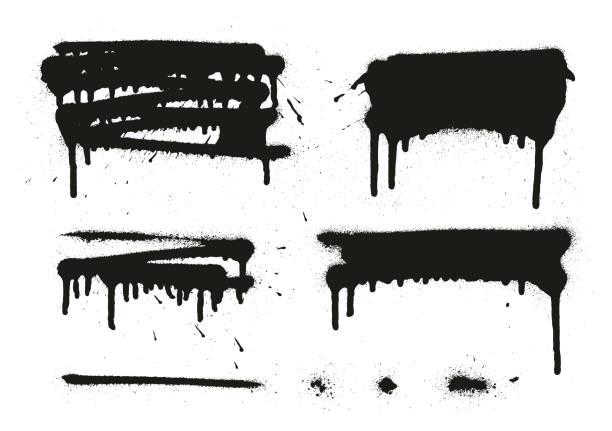 illustrations, cliparts, dessins animés et icônes de peinture en aérosol abstract vector backgrounds, lignes & gouttes définir 05 - graffiti