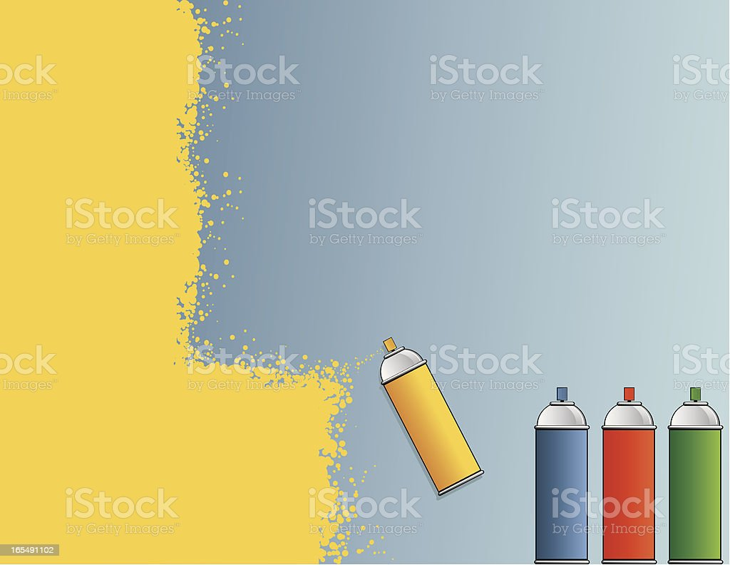Spray Paint Background Vector illustration of Spray paint cans.  Yellow sprayed paint over blue background. CS2, PDF, AI8 EPS, and 300 dpi JPG included. Aerosol Can stock vector
