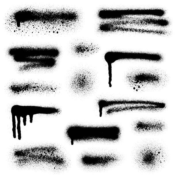 sprey boya elemanları - duvar yazısı stock illustrations