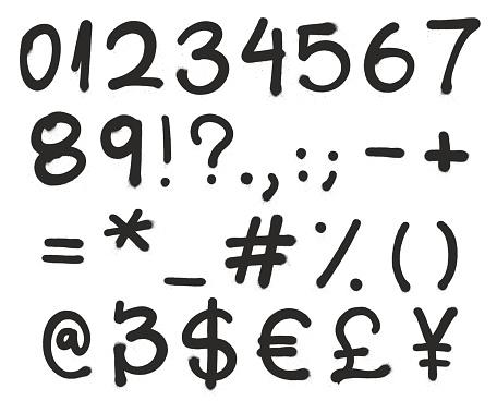 Spray Paint Graffiti Vector Font Numbers & Symbols