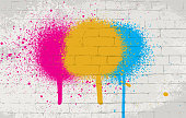 Wall texture vector background with color spray paint on it.