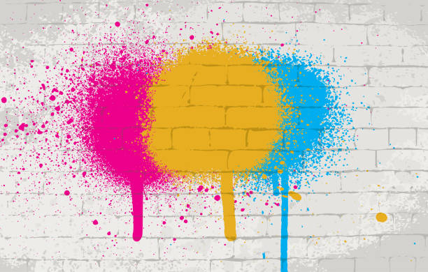 Spray paint on wall texture background Wall texture vector background with color spray paint on it. aerosol can stock illustrations