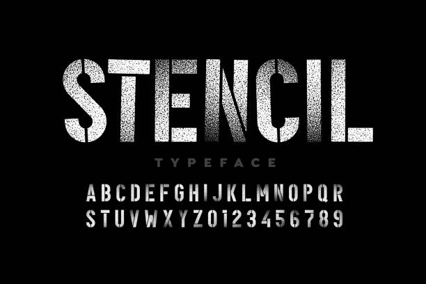 spray paint sctencil style font - szablony stock illustrations