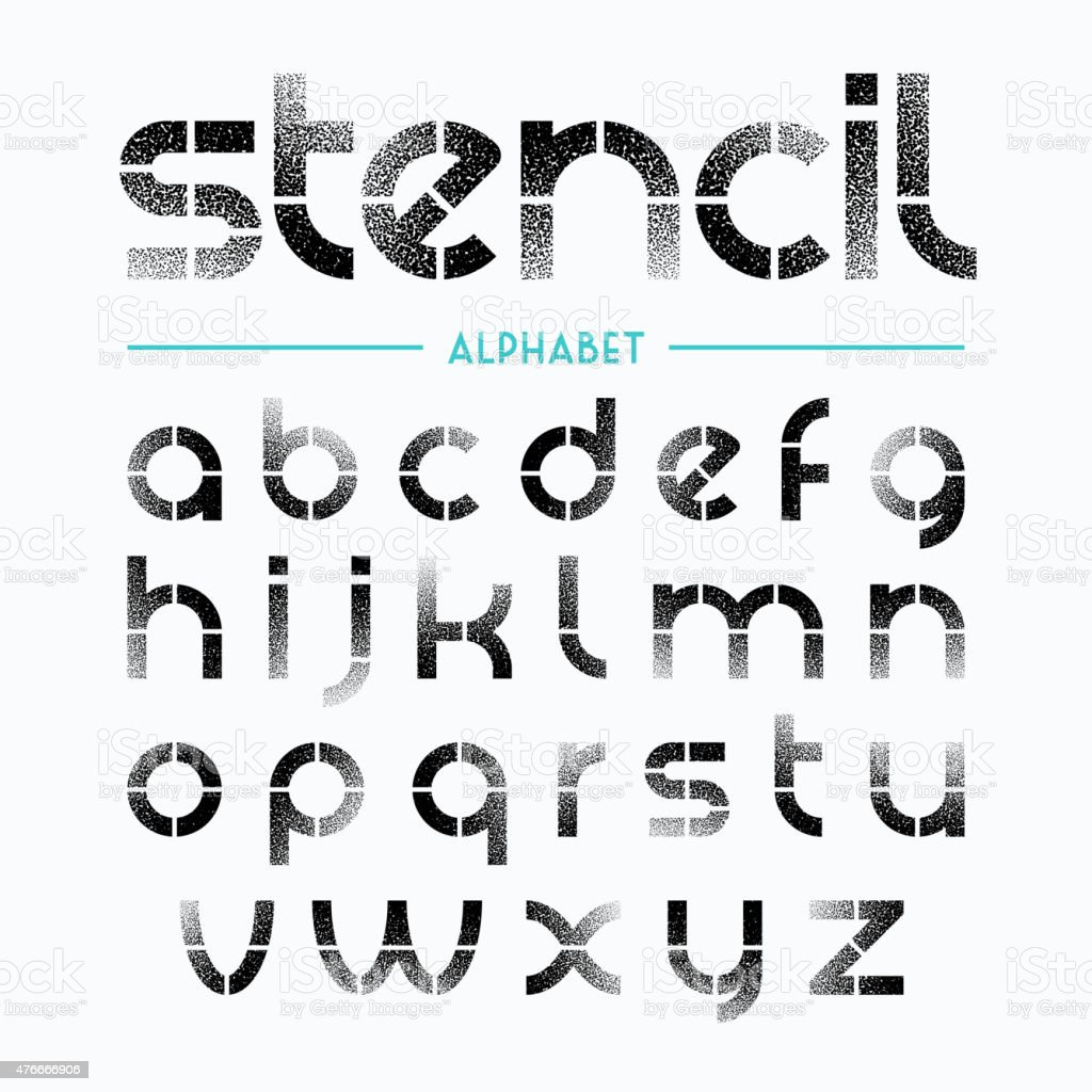 Spray painted stencil alphabet letters vector art illustration