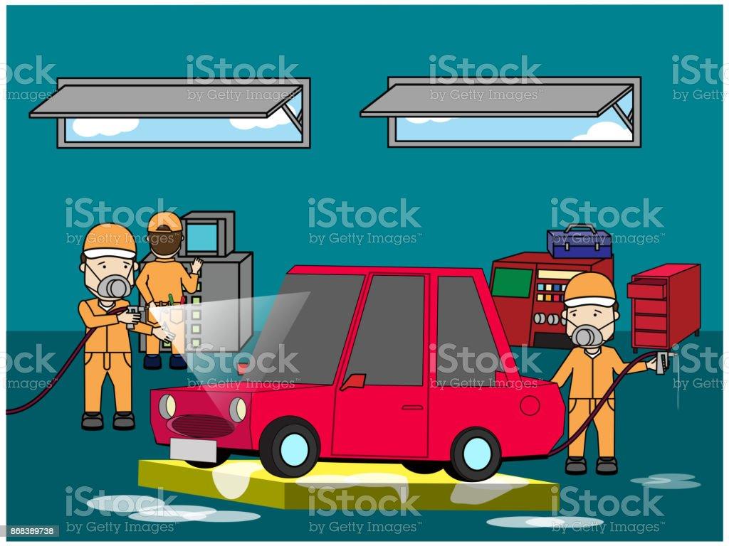 spray painting car body collision repair vector art illustration