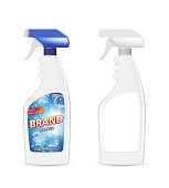 Spray Pistol Cleaner Plastic Bottle with detergent for bathroom. Bathroom cleaner ad. Spray Bottle mockup. Realistic 3d illustration. EPS 10