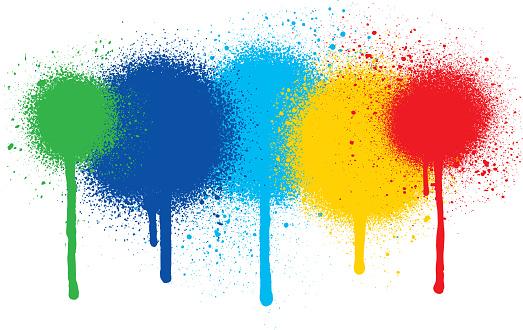 Spray splatter paint over white background