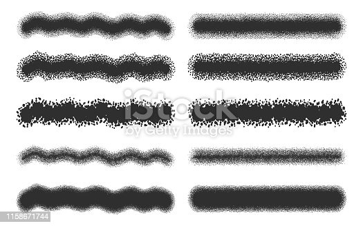 Spray strokes set, black airbrushes isolated on white background. Vector illustration.