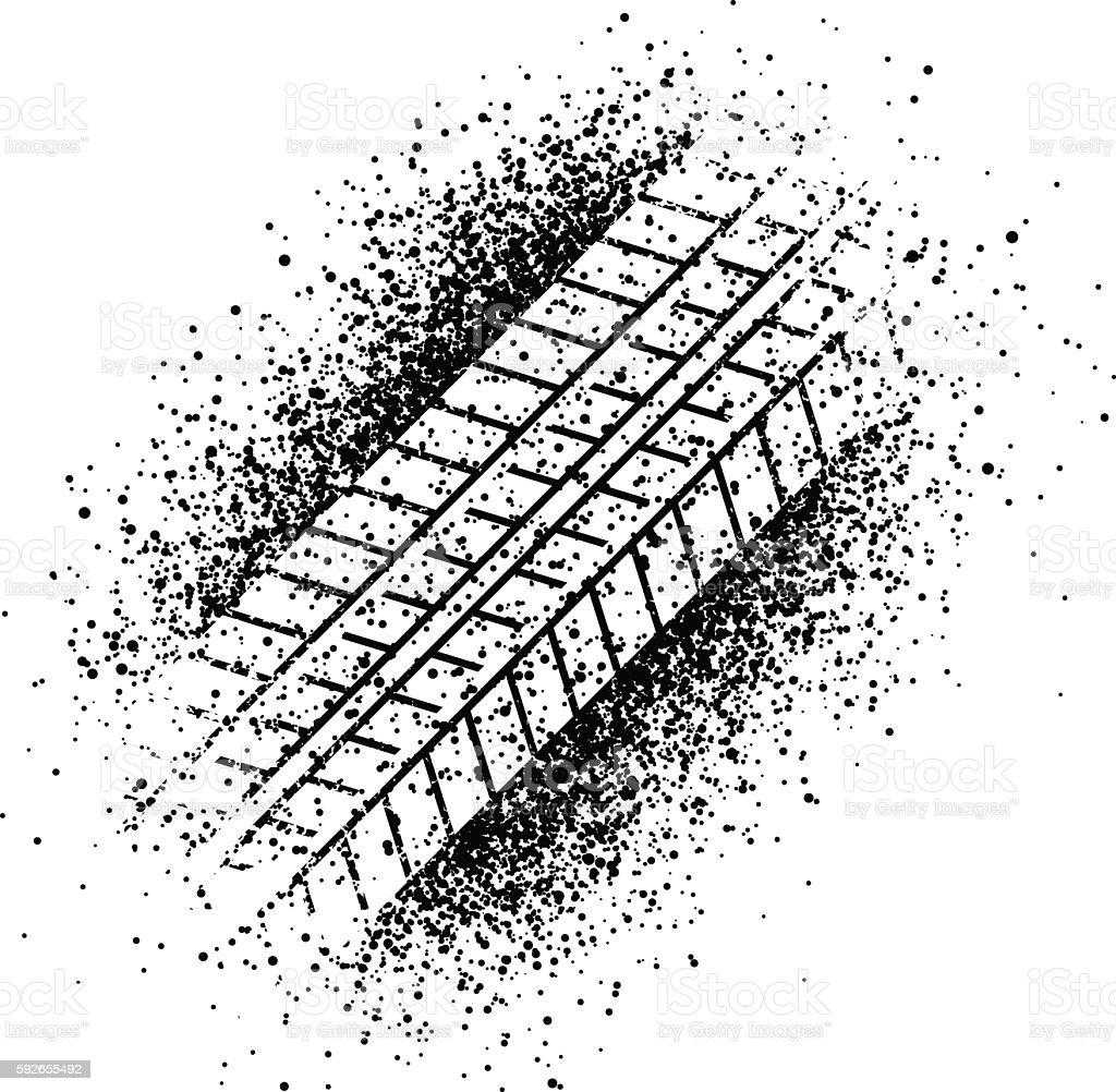 spray trace of the tyre vector art illustration