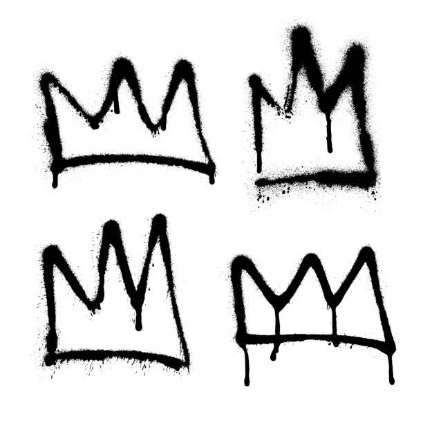 Sprayed crown graffiti set with overspray in black over white. Vector illustration. Sprayed crown graffiti set with overspray in black over white. Vector illustration. Eps 10 airbrush stock illustrations