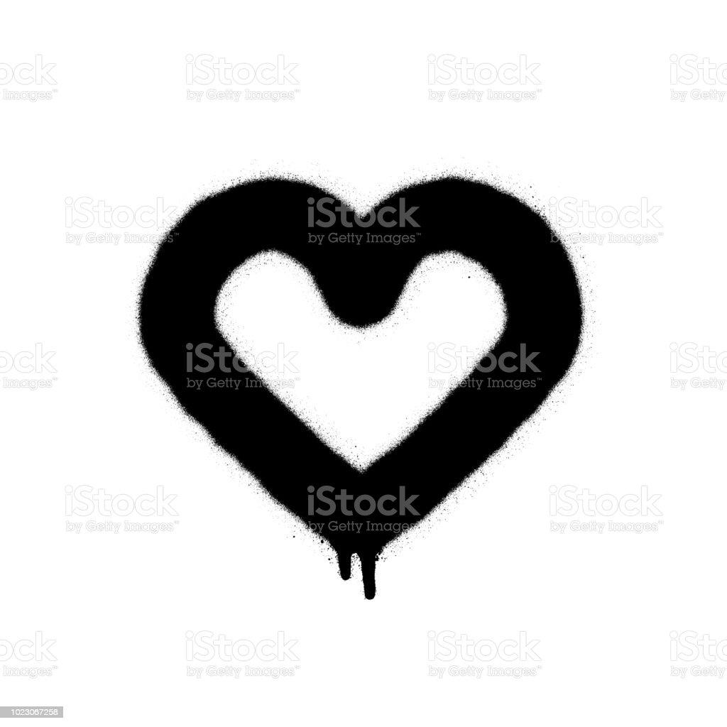 Siyah Beyaz Toz Boya Grafiti Kalp Vektör çizim Stok Vektör Sanatı