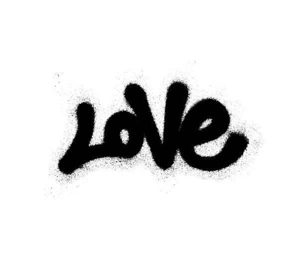 Sprayed love font graffiti with overspray in black over white. Vector illustration. Sprayed love font graffiti with overspray in black over white. Vector graffiti art illustration. airbrush stock illustrations