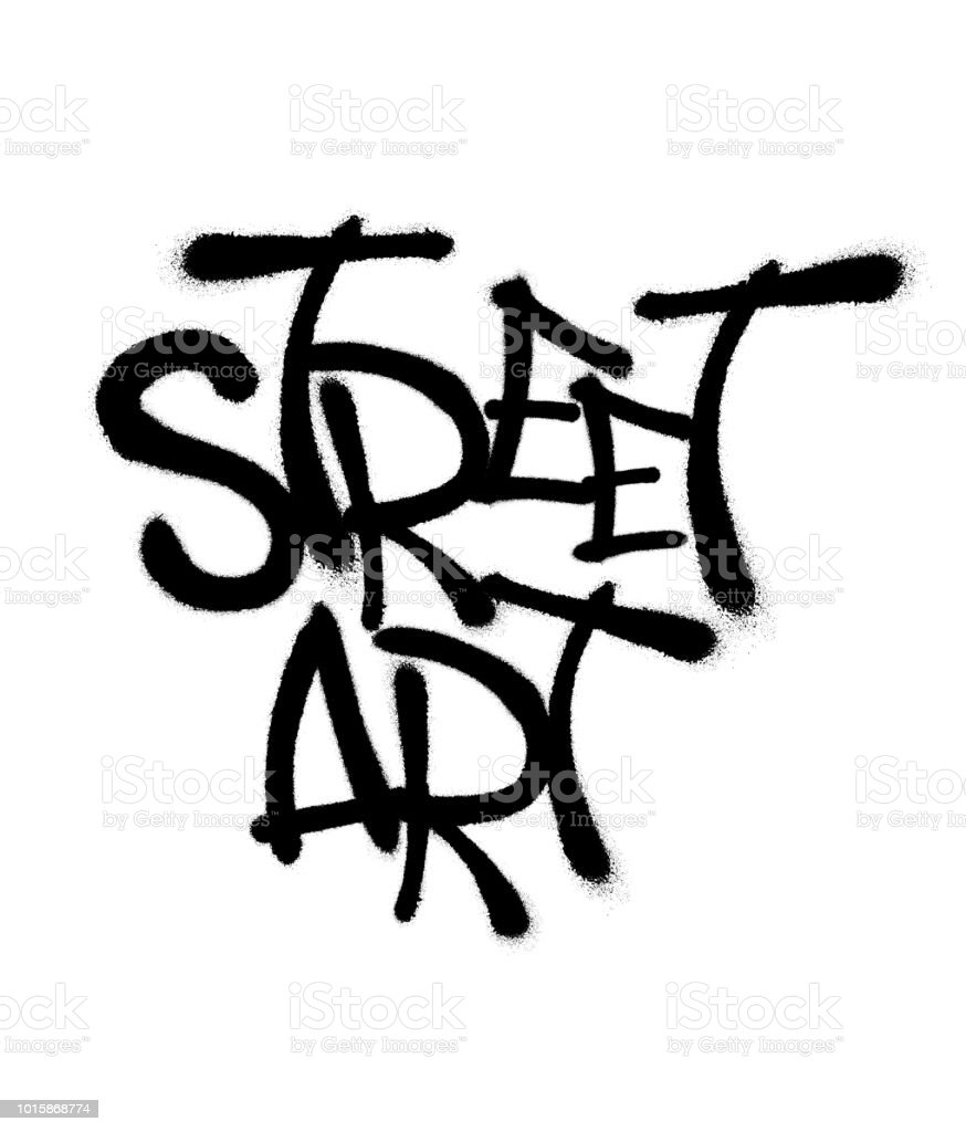 Sprayed street art font graffiti with overspray in black over white. Vector illustration.