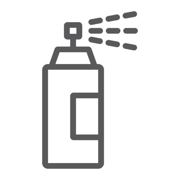sprüher liniensymbol, werkzeuge und gestaltung, aerosol zeichen, vektor-grafiken, ein lineares muster auf weißem hintergrund, eps 10. - haarsprays stock-grafiken, -clipart, -cartoons und -symbole