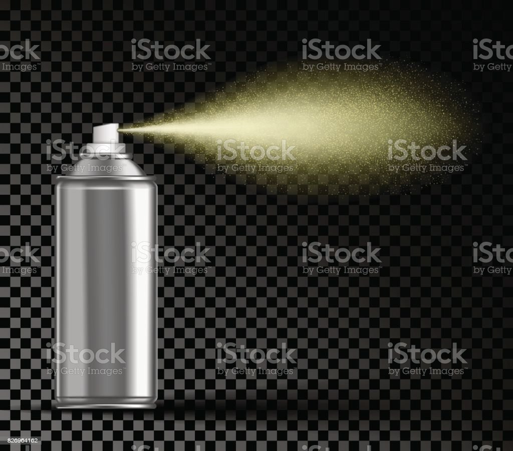 Spraying aerosol on transparent background vector art illustration