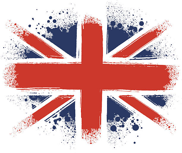 spraypainted union jack - union jack flag stock illustrations, clip art, cartoons, & icons
