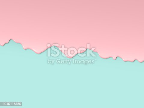 Vector art design in 3D style. Pink glaze flowing along the turquoise edge of the cake