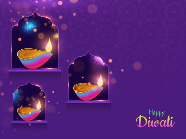 Spread lighting in corner with oil lamp (diya) on purple background for Happy Diwali purple card or poster design. Spread lighting in corner with oil lamp (diya) on purple background for Happy Diwali purple card or poster design. diwali stock illustrations