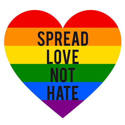 Spread love, not hate, rainbow heart, LGBT, gender equality, vector
