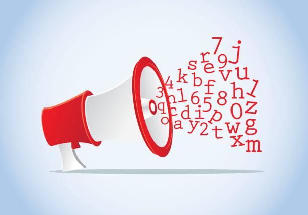 spread the words using megaphone vector art illustration