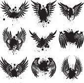 vector collection of grunge bird wings and splatters.