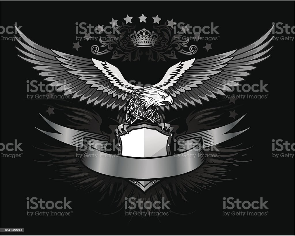 Spread winged eagle insignia vector art illustration