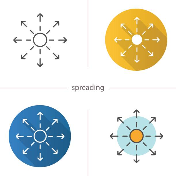 Spreading icon Spreading flat design, linear and color icons set. Distribution abstract metaphor spreading stock illustrations