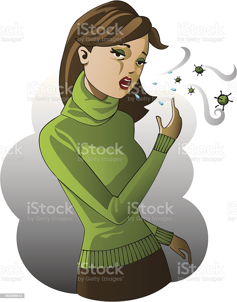 Spreading the flu virus vector art illustration