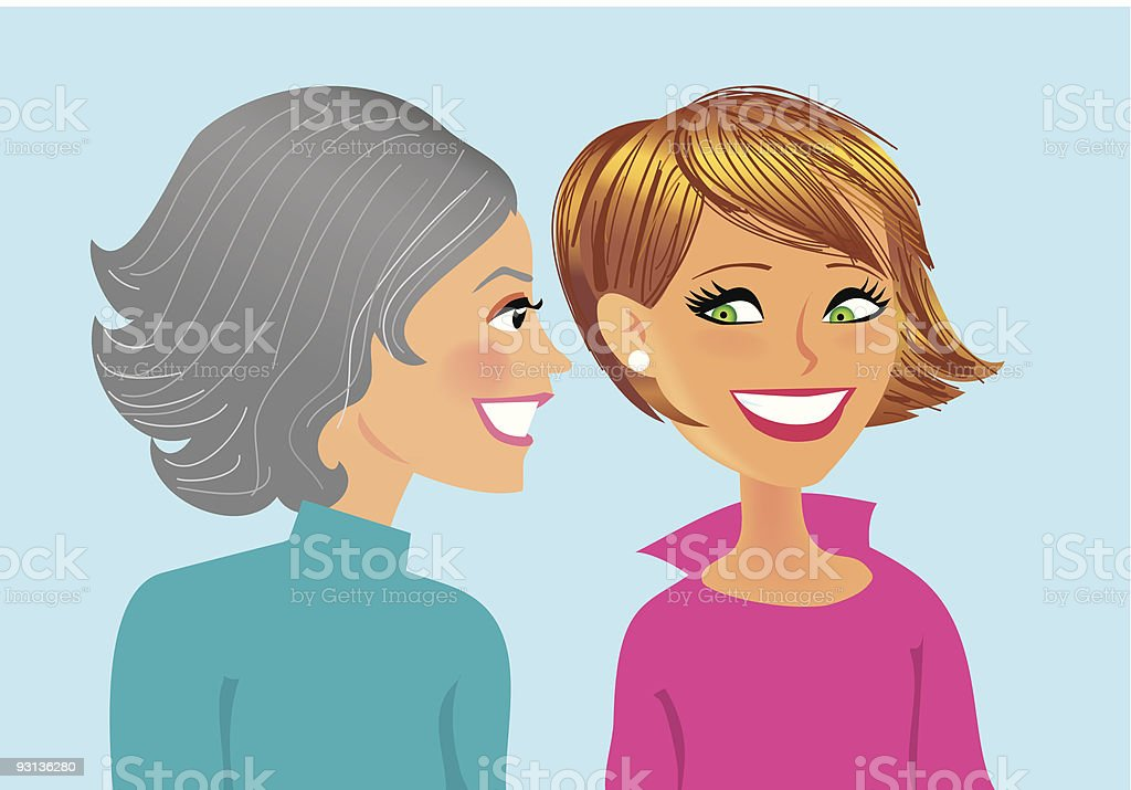 Spreading the word, two women talking royalty-free stock vector art