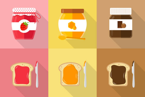 spreads with toast flat design strawberry jam, honey and chocolate spread with toast jello stock illustrations