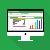 Spreadsheet Computer flat icon. Financial accounting report concept vector illustration