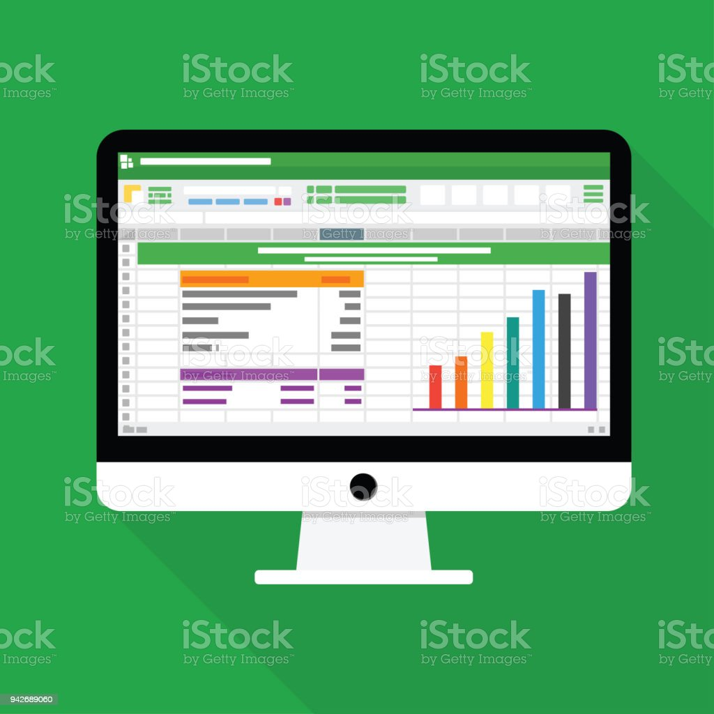 Spreadsheet Computer flat icon. Financial accounting report concept vector illustration vector art illustration