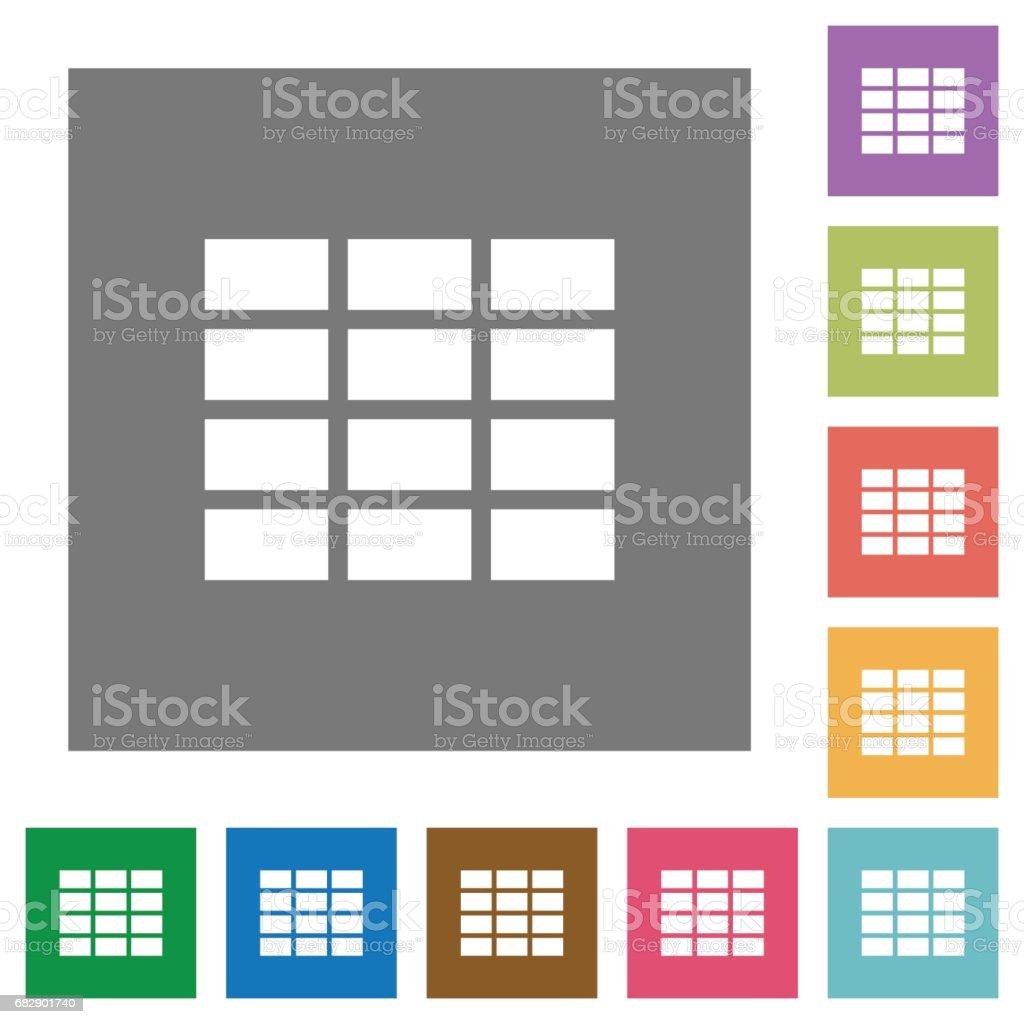 Spreadsheet square flat icons vector art illustration