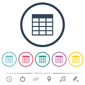 Spreadsheet table flat color icons in round outlines