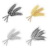 Sprigs of wheat. Plant for brewing beer. Pub single icon in cartoon style vector symbol stock illustration.