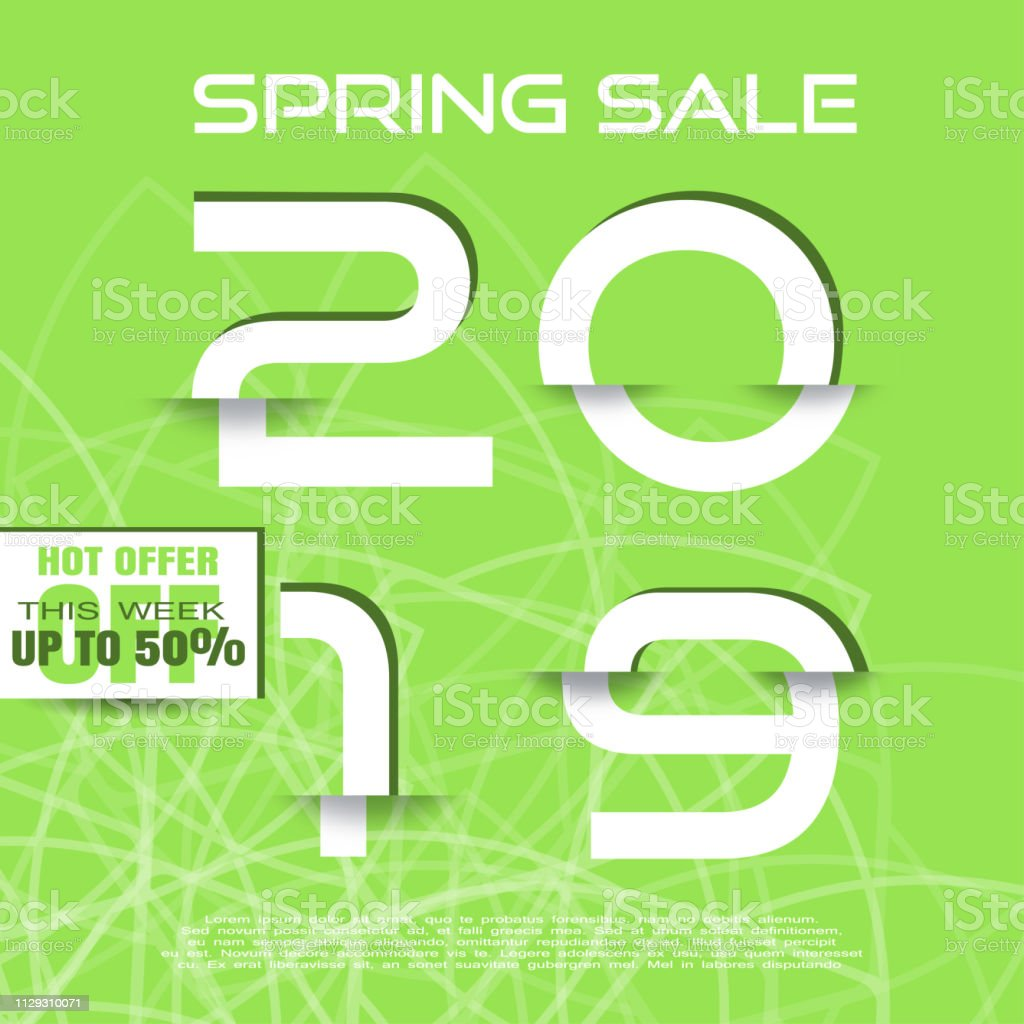 Spring 2019 Sale vector poster with glitch white numbers with shadow...