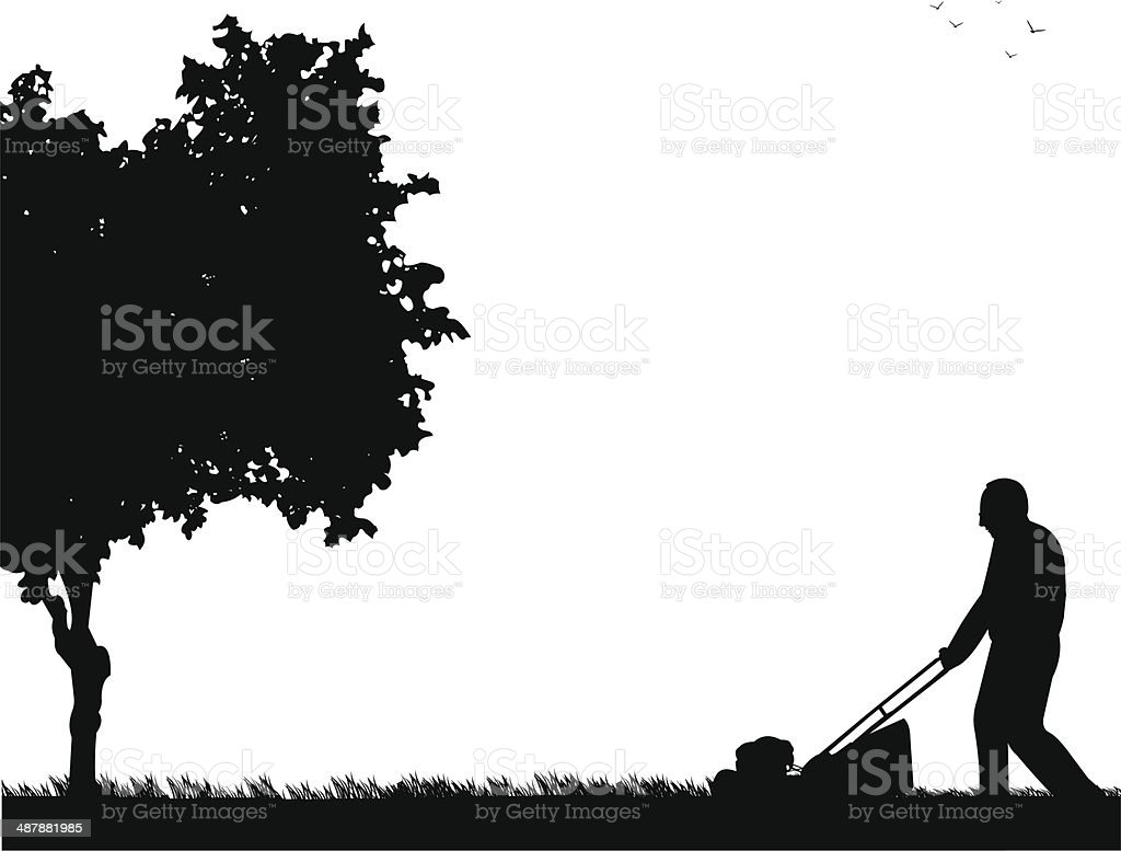 Spring activities in garden, man cut the lawn royalty-free spring activities in garden man cut the lawn stock vector art & more images of activity