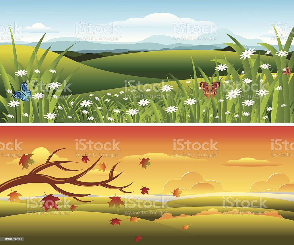 Spring And Autumn Season.... royalty-free spring and autumn season stock vector art & more images of autumn