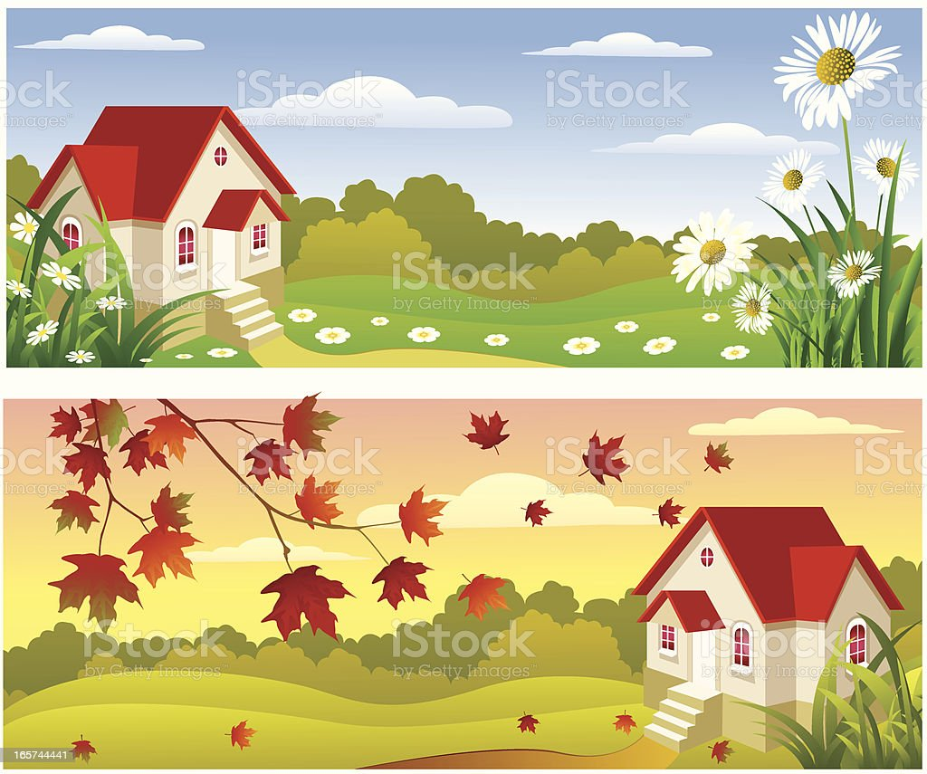 Spring and Autumn. royalty-free stock vector art