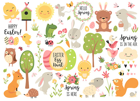 Spring and Easter collection of cute animals,