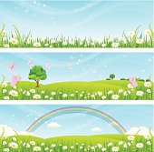 Vector spring and summer banners. Download includes high resolution jpeg.