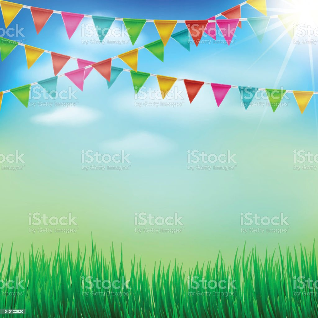 Spring And Summer Garden Party Background Stock Vector Art & More Images of Backgrounds ...