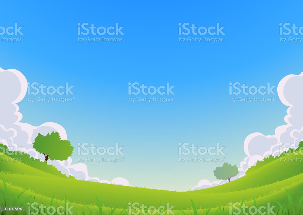 Spring And Summer Landscape - Wide Angle royalty-free stock vector art