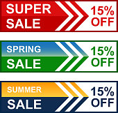 Spring and summer super fifteen percent sale web banner collection.