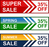 Spring and summer super thirty five percent sale web banner collection.